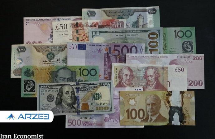 نرخ رسمی ۲۳ ارز کاهش یافتارز کشورها